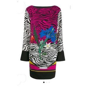 Cavalli Class Crepe Sable Print Zebra City Dress